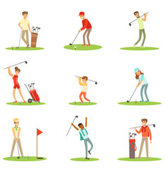 people playing golf on grass striking the ball vector image