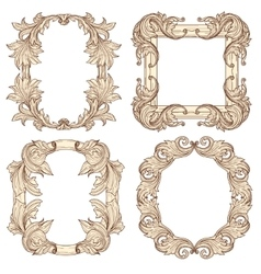 Picture frames in baroque antique style vector image vector image
