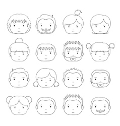 Set of line silhouette office people icons vector image