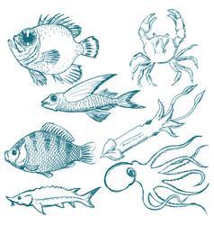 set of underwater life vector image vector image