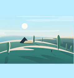 Abstract minimalistic landscape with village house vector