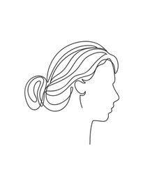 abstract woman face in profile line art vector image