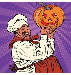 African American or Latino cook with a Halloween vector image