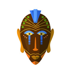 African ritual masked headdress isolated on white vector