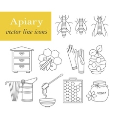 Apiary thin line icons set vector