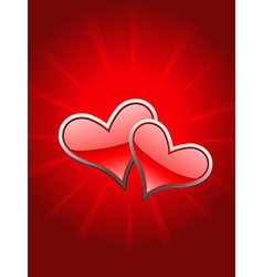 Beautiful red heart in glowy background vector