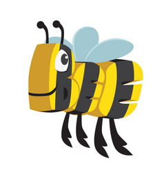 Bee cartoon animal in letters vector