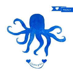 Blue octopus Watercolor octopus vector image