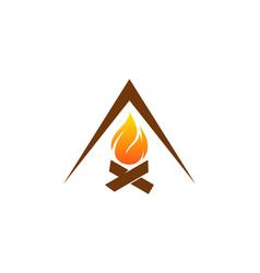 Camping fire logo icon design vector