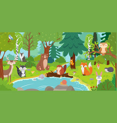 cartoon forest animals wild bear funny squirrel vector image