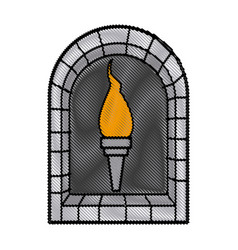 Cartoon medieval torch flame light vector