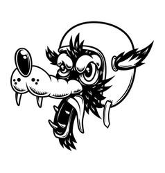cartoon wolf in racer helmet design element vector image