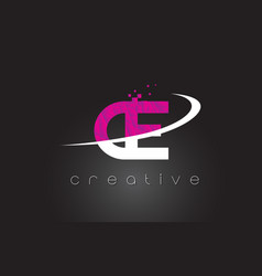 Ce c e creative letters design with white pink vector