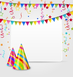 Celebration card with party hats confetti vector
