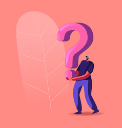 character holding huge question mark solving vector image