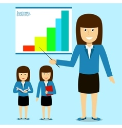 Cheerful businesswoman on presentation vector