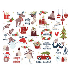 christmas and new year set cartoon vector image