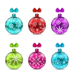 Collection Christmas Colorful Glassy Balls vector