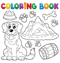 Coloring book dog theme 7 vector