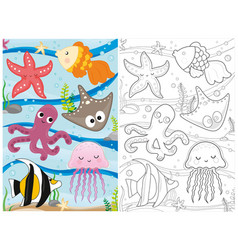 coloring book marine life page vector image