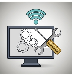 computer pc gear wifi vector image