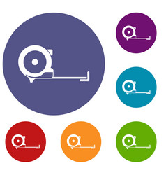 construction roulette icons set vector image