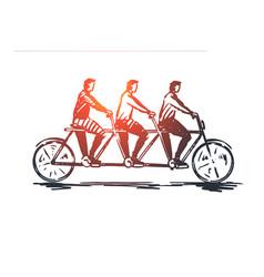 Coordinate cooperation teamwork bike tandem vector