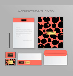 corporate identity design stationery mockup vector image