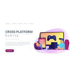 Cross-platform play concept landing page vector