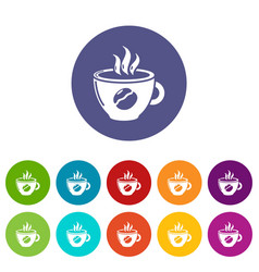 Cup coffee icons set color vector