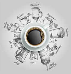 cup of coffee with coffee drinks creative vector image