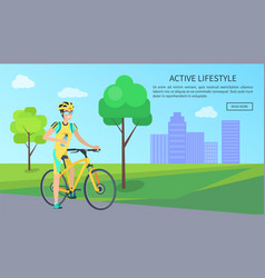 cute cyclist with bottle on bike active lifestyle vector image