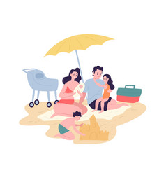 cute happy family spending summer vacation at vector image