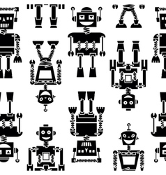 Cute retro robots black silhouette pattern vector