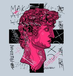 david classical sculpture crazy pink calligraphy vector image
