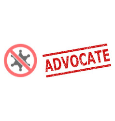Distress advocate seal stamp and halftone dotted vector