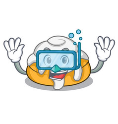 Diving cinnamon roll character cartoon vector