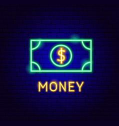 Dollar banknote neon label vector