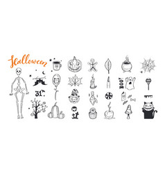 doodle halloween night collection spooky vector image