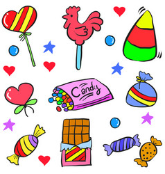 Doodle of candy food various vector