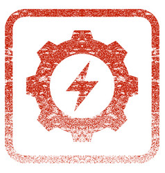 Electric energy gear framed textured icon vector