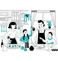 family cooking mother son cook parents and kids vector image