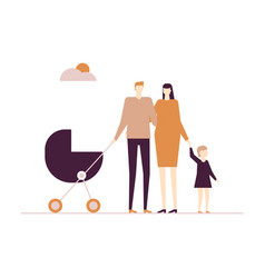 family on a walk - flat design style colorful vector image