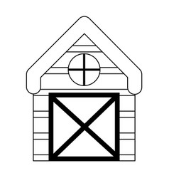 Farm wooden barn isolated icon on white background vector