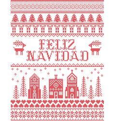 Feliz navidad with winter wonderland village vector