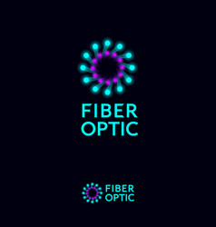 Fiber optic optical fiber cable logo connect logo vector