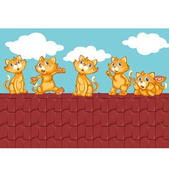 Five kittens on the red roof vector