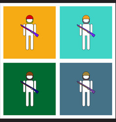 Flat icon design collection soldier with gun vector
