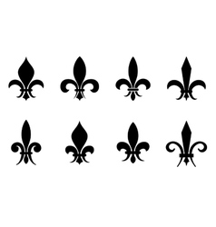 Fleur de lis set in black isolated white vector image