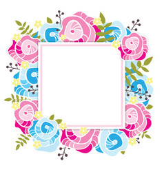 Floral template square frame with abstract pink vector
